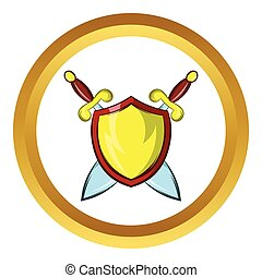 Gold shield vector icon, cartoon style