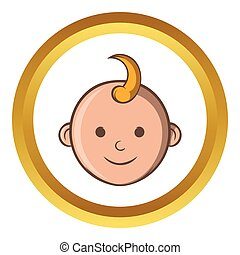 Baby face vector icon, cartoon style - Baby face vector icon...