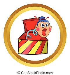 Box jumping with toy vector icon, cartoon style