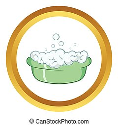 Green baby bath with foam vector icon