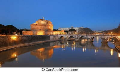 Sant'Angelo, Evening, Tiber, Rome. Italy. UltraHD (4K)