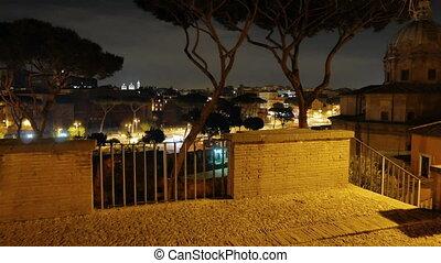Capitol Hill. Via dei Fori Imperiali. Night. Rome, Italy....