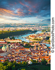 Panorama of the old Prague from the Petrin tower, Czech...