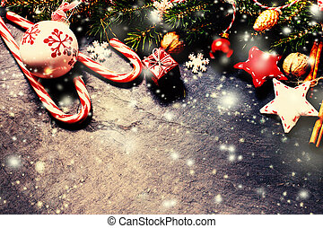 Christmas decorations on dark background in vintage style....
