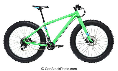New blue bicycle with thick tires for snow ride isolated on a white