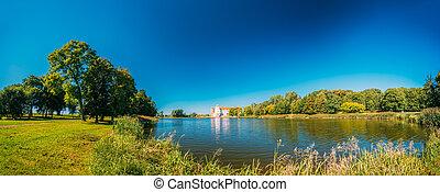 antiguo, monumet, Belarus, panorámico, Complejo, castillo,...