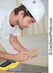 building marking a plywood