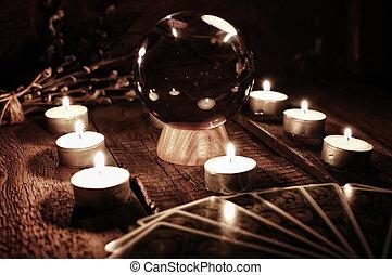future teller candle divination - various vintage elements...