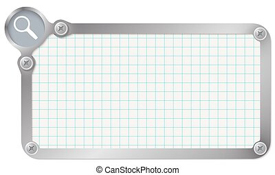 Metal frame for your text with graph paper and magnifier