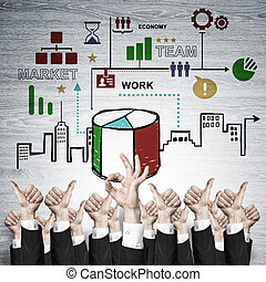 Business and teamwork concept - Group of hands of...
