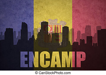 abstract silhouette of the city with text Encamp at the...