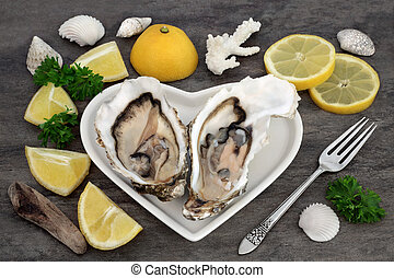 Delicious Fresh Oysters - Oysters on a heart shaped plate...