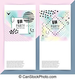 Party invitation. Holographic background. Simple shapes....