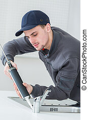 applying water resistant glue