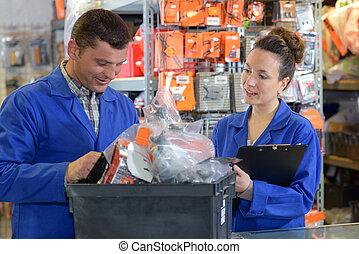 bens, verificar, gerente,  warehouseman, recepção, loja