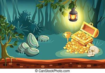 Treasure Chest And Fantasy Landscape