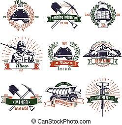 industria, minería, Conjunto, emblemas