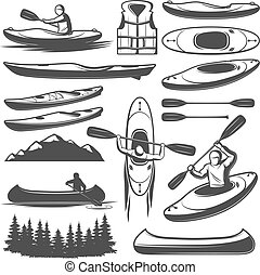 Vintage Kayaking Elements Set - Set of isolated monochrome...