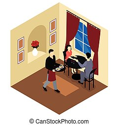 Love Couple In Restaurant Isometric Composition