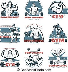 Colored Body Building Emblem Set - Colored body building...