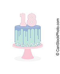 Birthday cake with glaze and number 18 candles