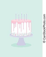 Birthday cake with glaze and candles