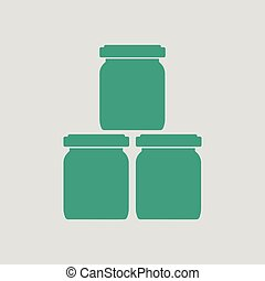 Baby glass jars icon. Gray background with green. Vector...