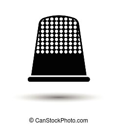 Tailor thimble icon. White background with shadow design....