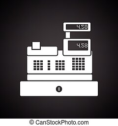 Cashier icon. Black background with white. Vector...