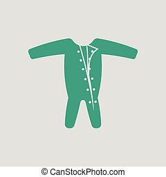 Baby onesie icon. Gray background with green. Vector...