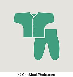 Baby wear icon. Gray background with green. Vector...