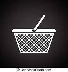 Shopping basket icon. Black background with white. Vector...