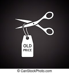 Scissors cut old price tag icon. Black background with...