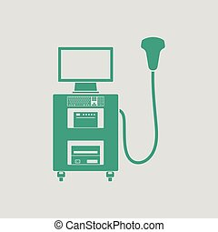 Ultrasound diagnostic machine icon. Gray background with...