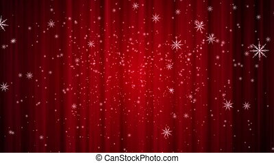 snow curtain background red