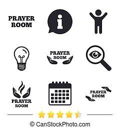 Prayer room icons. Religion priest symbols. - Prayer room...