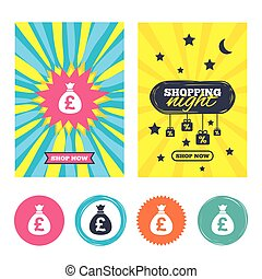 Money bag sign icon. Pound GBP currency. - Sale banners,...