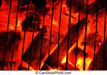 Barbecue charcoal fire - Wood fire with flames, charcoal and...