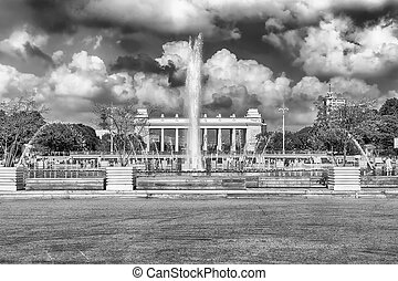 Scenic fountain inside Gorky Park, Moscow, Russia - Scenic...