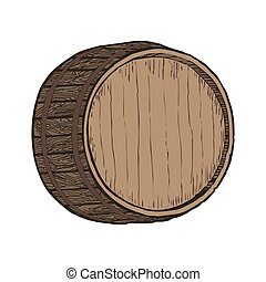 Wooden barrel top object, isolated on white vector...