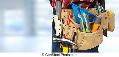 Tool belt with construction tools. - Builder handyman with...