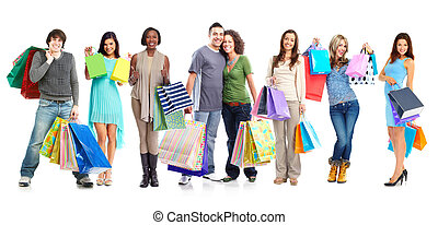 Group of shopping customers. - Group of happy customers with...