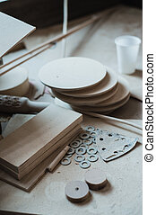 The working desk in wood workshop, Wood craft - The working...