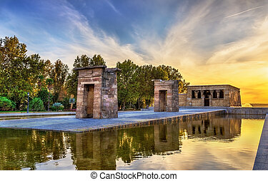 Sunset over the The Temple of Debod in Madrid, Spain -...