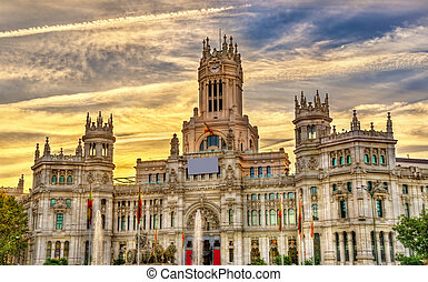 The Cybele Palace in Madrid, Spain - The Cybele Palace,...