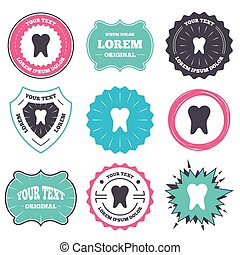 Tooth sign icon. Dental care symbol. - Label and badge...