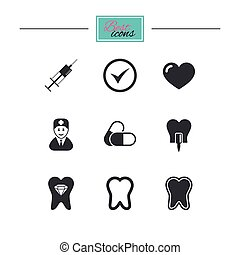 Tooth, dental care icons. Stomatology signs. - Tooth, dental...