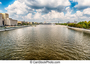 Aerial view over the Moskva River in central Moscow, Russia...