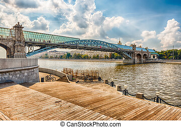 View over Pushkinsky Pedestrian Bridge in central Moscow,...