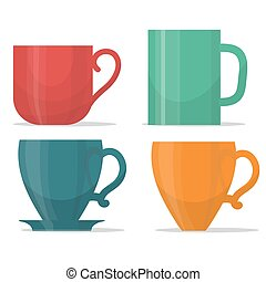 tee mug cup set, coffee time illustration